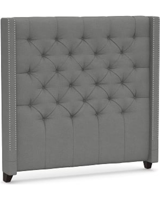 Harper Upholstered Tufted Tall Headboard with Pewter Nailheads Queen Basketweave Slub Charcoal - undefined