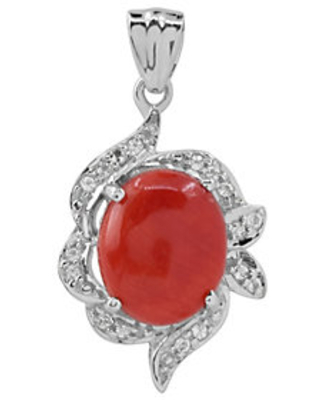 Sterling Bamboo Coral & T opaz Pendant - affinity gems