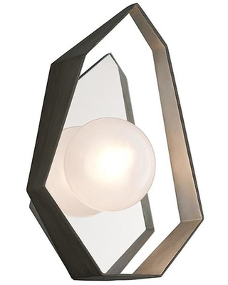 Origami 25 in W 1 Light Graphite with Silver Leaf Modern Contemporary Wall Sconce B5531 - troy lighting