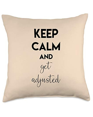 Keep Calm And Get Adjusted Health Care Chiropractor Gift Throw Pillow 18x18 - boredkoalas chiropractician throw pillow gifts