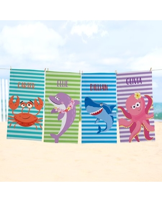 Personalized Ocean Stripes Beach Towel Available in 4 Options - undefined