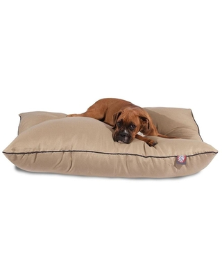 Khaki Cotton Rectangular 46 in x 35 in Dog Bed For Large Polyester 788995654650 - majestic pet products