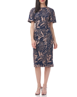 JS Collections Maya Puff Sleeve Dress, Size 14 in Latte/Black Iris at Nordstrom