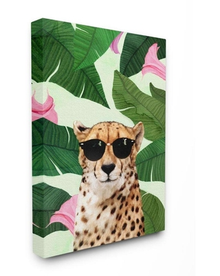Fashion Cheetah Funny Flower Tropical Painting Stretched Canvas Wall Art by Ziwei Li - stupell industries