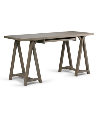 60 in Rectangular Distressed Writing Desk with Solid Wood Material - brooklyn + max