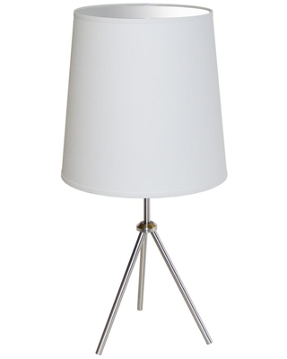 Oversized Drum 30 in H 1 Light Satin Chrome Table Lamp with Laminated Fabric Shades - dainolite