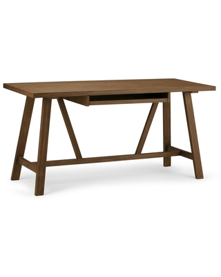60 in Rectangular Rustic Natural Aged Writing Desk with Solid Wood Material - brooklyn + max