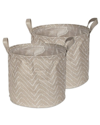 Woven Paper Round Laundry Basket Collapsible Waterproof Large - dii