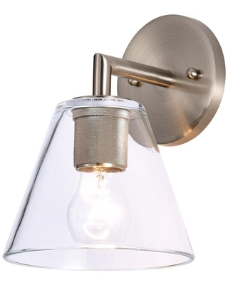 1 Light Satin Nickel Wall Sconce with Clear Glass - c cattleya