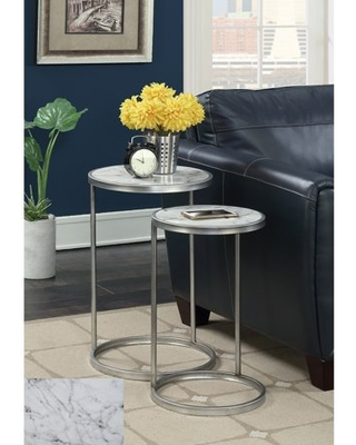 Coast Faux Marble Nesting End Tables Multiple Finishes - convenience concepts