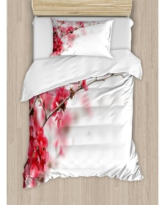 Spring Nature Beauty Cherry Blossom Branches Misty Inspirational Japanese Blooms Image Duvet Cover Set - east urban home