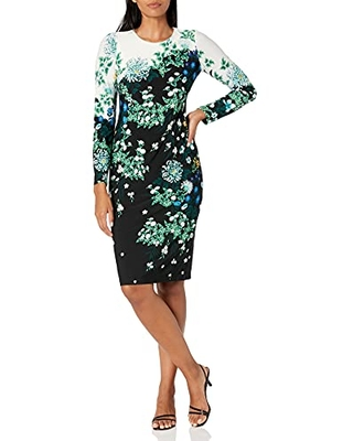Women's Jersey Long Sleeve Round Neck Floral Print Midi - maggy london