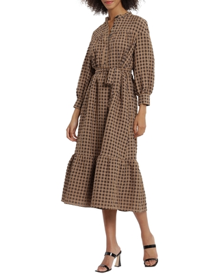 Maggy London Check Long Sleeve Tiered Midi Dress, Size 12 in Brown/Black at Nordstrom