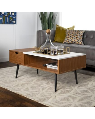 AF42JMMBPC Mid Century Modern Wood and Faux Marble Coffee Table in - walker edison