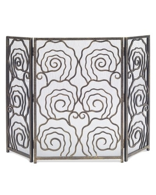 Spiral 3 Panel Iron Fireplace Screen - ambella home collection