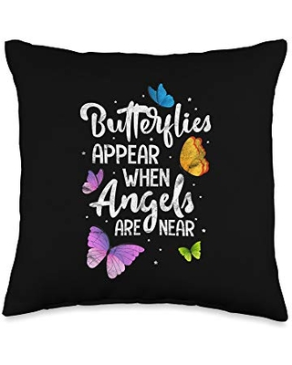Appear When Angels are Near Cute Butterfly Throw Pillow 16x16 - cute butterfly gifts