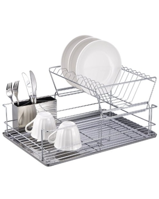 2 Tier Steel Dish Rack with Removable Utensil Cup - home basics