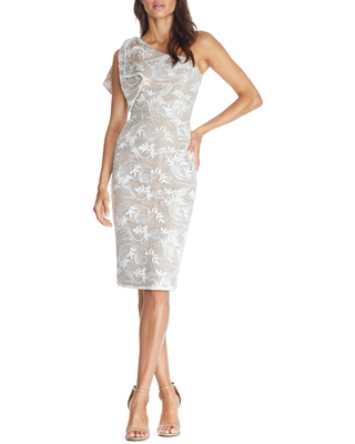 Dress the Population Thalia One-Shoulder Floral Lace Dress, Size Medium in White at Nordstrom