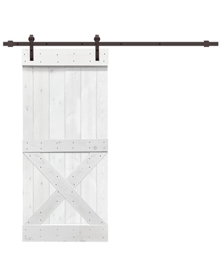 CALHOME Mini x series with hardware kit 42-in x 84-in White 2-panel Solid Core Stained Pine Wood Single Barn Door (Hardware Included)