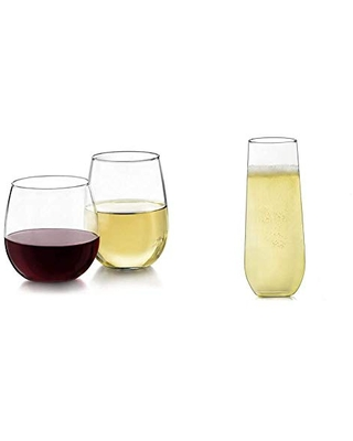 Stemless 12 Piece Wine Glass Party Set for and Wines & Stemless Champagne Flute Glasses - libbey