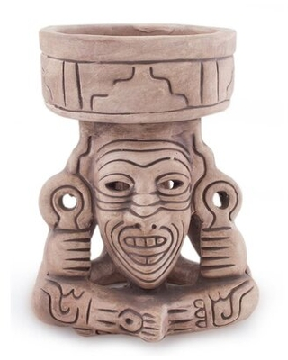 Zhane Mexico Handcrafted Archaeological Deity Ceramic Sculpture - world menagerie