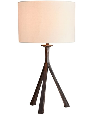 Easton Forged Iron Tripod Table Lamp with Medium Straight Sided Gallery Shade Bronze - undefined