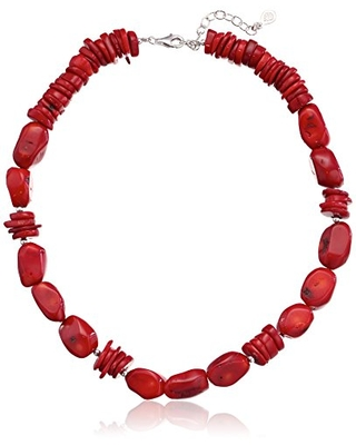 Basics Sterling Silver and Bamboo Coral Necklace - barse