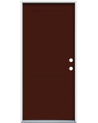 American Building Supply 32-in x 80-in Steel No Glass Left-Hand Inswing Currant Paint Painted Prehung Single Front Door Insulating Core ENERGY STAR