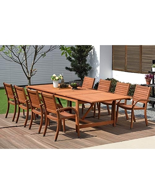 Arizona 9 Piece Patio Rectangular Extendable Dining Table Set Wood Ideal for Outdoors and Indoors - amazonia