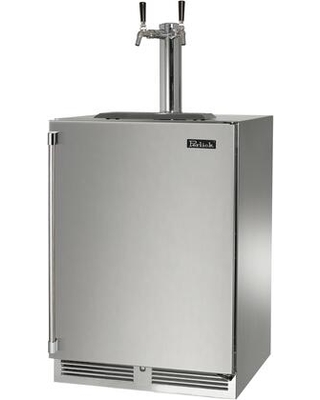 HP24TS 4 1R 2 Signature Series Indoor Beer Dispenser with 2 cu ft Capacity LED Task Lighting Dual Tap and Right Hinge Solid Door in - perlick