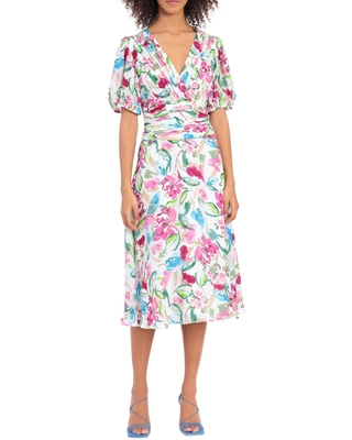 Pintuck Floral Print Midi Dress Size 14 in Soft at Nordstrom - maggy london