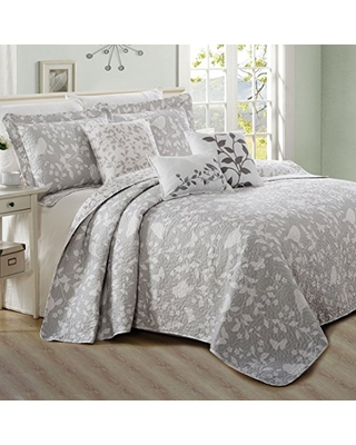 Birdsong Bedspread Set Soft Lightweight Reversible Quilt Coverlet Bedspread Bedding Set Cover for All Season Queen - home soft things