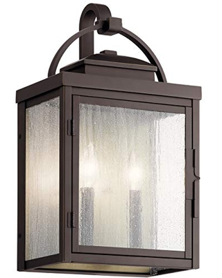 Carlson 2 Light Outdoor Wall Light with Clear Seeded Glass - kichler