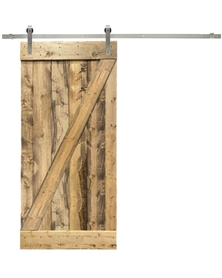 CALHOME Z bar series with hardware kit 36-in x 84-in Weather Oak 1-panel Solid Core Stained Pine Wood Single Barn Door (Hardware Included) in Brown