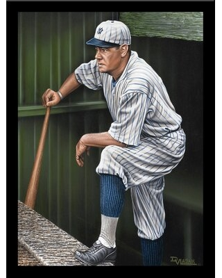 Babe Ruth on the Top Step of Dugout' Print Poster by Darryl Vlasak Framed Memorabilia - buy art for less