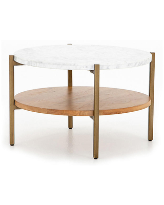 Sofia Round Marble Coffee Table Golden Brass Golden Brass Marble - one kings lane