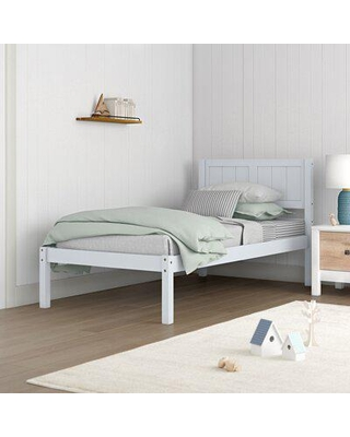Sand & Stable™ Baby & Kids Montecito Twin Solid Wood Platform Bed Wood in White, Size 40.6 H x 41.7 W x 79.5 D in | Wayfair