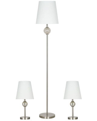 3pc Table and Floor Lamp Set Includes LED Light Bulb Silver - cresswell lighting