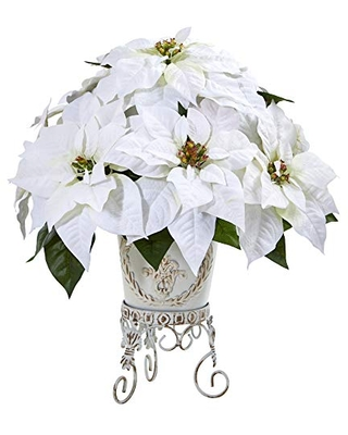 20in Poinsettia Artificial Metal Planter Silk Arrangements - nearly natural
