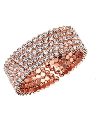 14kt Rose Plated Five Row Honeycomb Cuff Bracelet - x and o