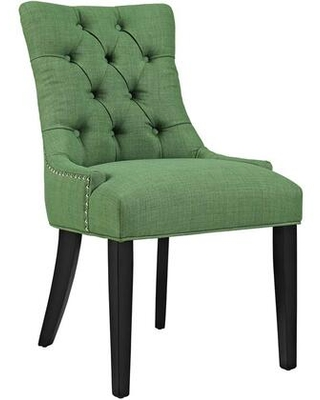 Regent Collection EEI 2223 GRN Dining Chair with Rubberwood Tapered Legs Nailhead Trim Non Marking Foot Caps Solid Wood Frame and Polyester - modway
