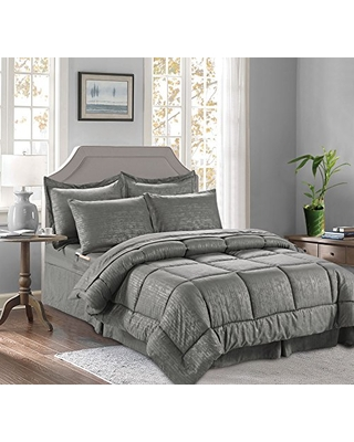 Best Luxury Coziest 8 Piece Bed in a Bag Bamboo Pattern Comforter Set! Silky Soft Complete Set Includes Bed Sheet Set with Double Sided Storage Pockets Full Queen - elegant comfort