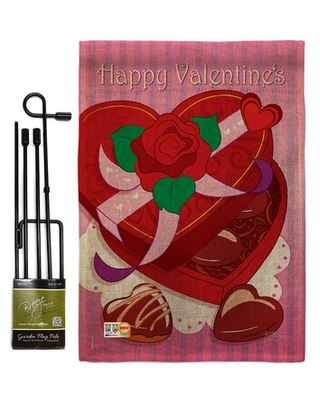 Chocolates Burlap Spring Valentines Impressions 2 Sided Polyester 5 x 13 in Garden Flag Set - breeze decor