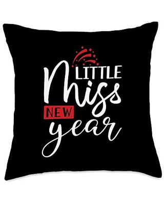 BW New Year Gifts Little Miss Funny 2021 New Years Throw Pillow, 18x18, Multicolor