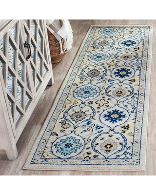 Andover Mills™ Aegean Floral Ivory/Blue Area Rug Polyester/Polypropylene/Cotton/Jute & Sisal in Blue/Brown, Size 26.0 W x 0.37 D in | Wayfair