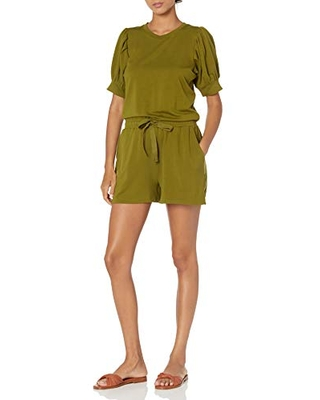 Amazon Brand Women's Supersoft Terry Puff Sleeve Romper - daily ritual