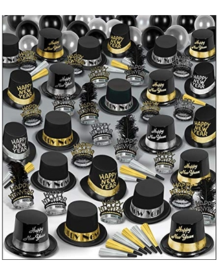 Beistle Super Deluxe Assortment for 100 People New Year's Eve Party Supplies Photo Booth Props – Hats, Tiaras, Noisemakers, Balloons, One Size, Black/Silver/Gold