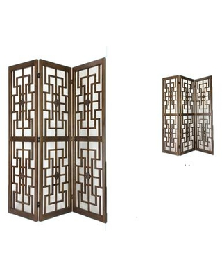 BM213454 Wooden 3 Panel Room Divider with Intricate Square Design - benzara