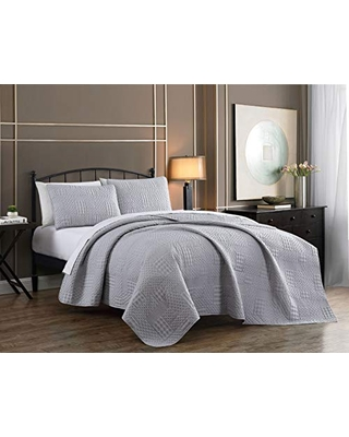 Yardley Quilt Set Queen Lightweight Microfiber Bedspread Embossed Design Quilted Coverlet with Matching Pillow Shams All Season Bedding Basics Light - addison home