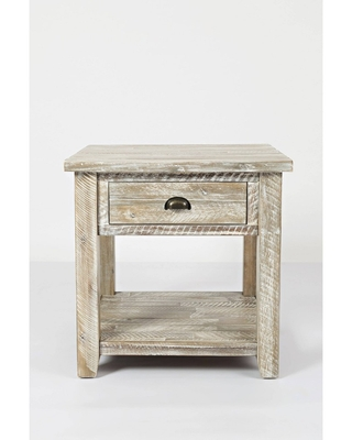 Wooden End Table with Drawer and Bottom Shelf - benzara